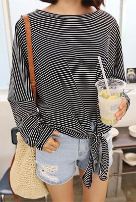 클리핑 매듭 맨투맨티셔츠 (2color)